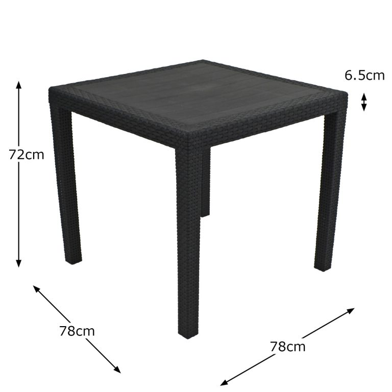 SALERNO SQUARE TABLE ANTHRACITE DIMENSION MS1