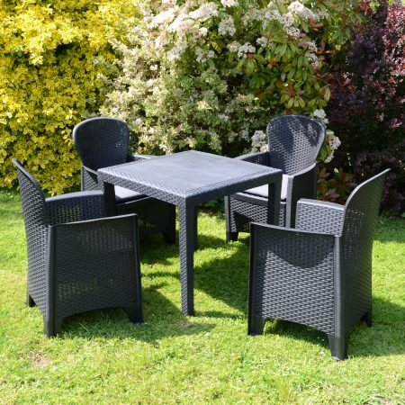 SALERNO SQUARE TABLE WITH 4 SICILY CHAIRS SET ANTHRACITE LG1