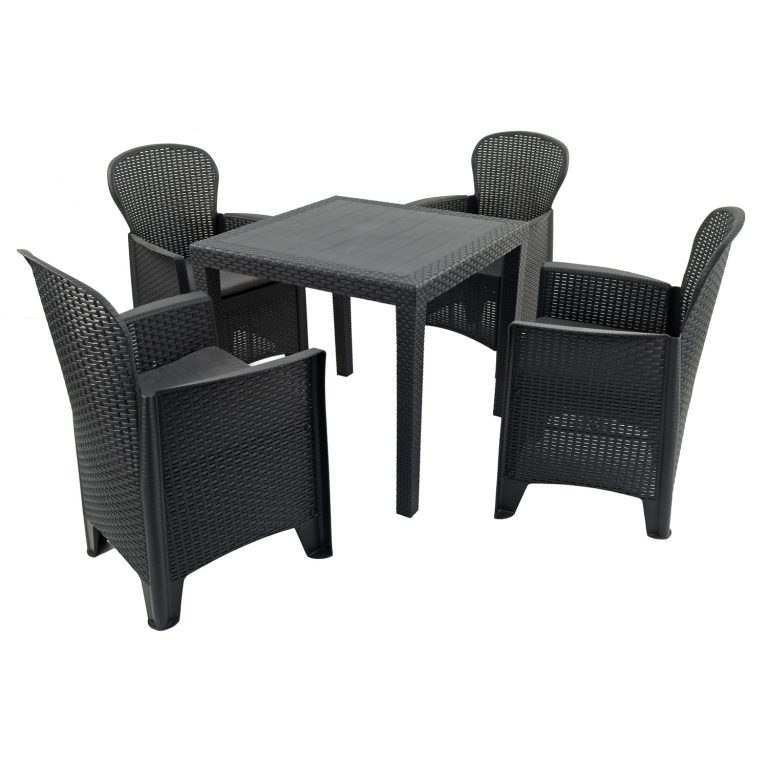 SALERNO SQUARE TABLE WITH 4 SICILY CHAIRS SET ANTHRACITE WG1