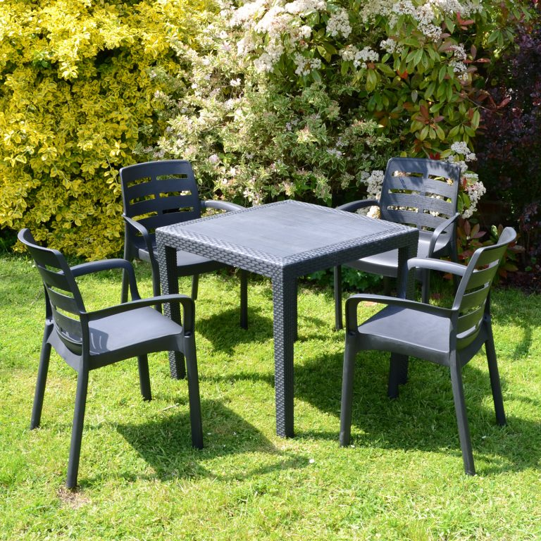 SALERNO SQUARE TABLE WITH 4 SIENA CHAIRS SET ANTHRACITE LG1