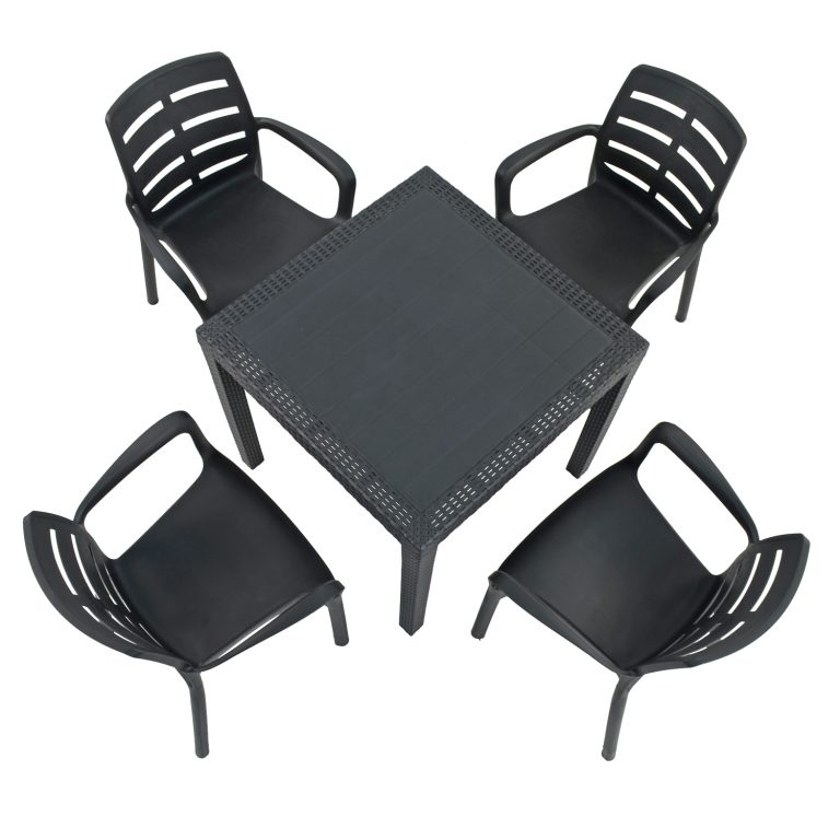 SALERNO SQUARE TABLE WITH 4 SIENA CHAIRS SET ANTHRACITE WG2