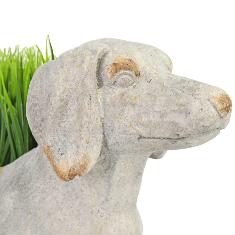 SAUSAGE DOG PLANTER 30CM WEATHERED STONE EFFECT DETAIL WS14
