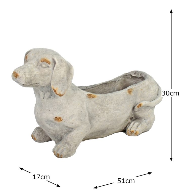 SAUSAGE DOG PLANTER 30CM WEATHERED STONE EFFECT DIMENSION WS10