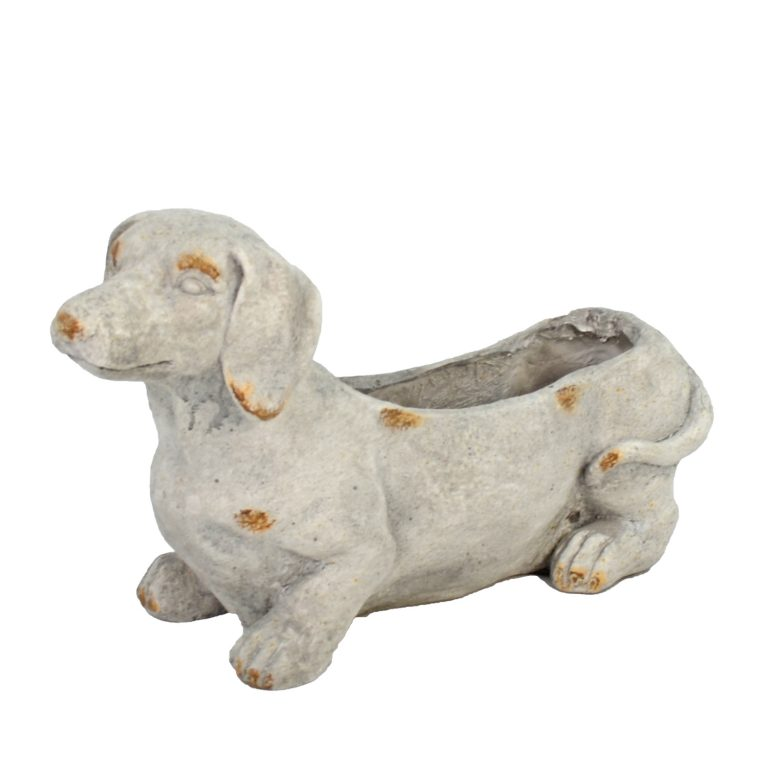 SAUSAGE DOG PLANTER 30CM WEATHERED STONE EFFECT PROFILE WS1