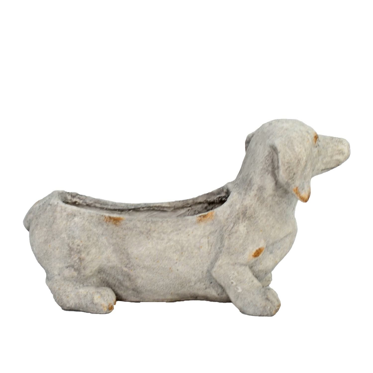 SAUSAGE DOG PLANTER 30CM WEATHERED STONE EFFECT PROFILE WS12
