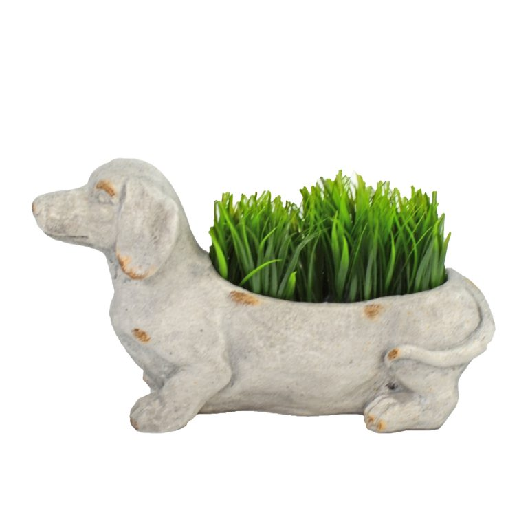 SAUSAGE DOG PLANTER 30CM WEATHERED STONE EFFECT PROFILE WS13