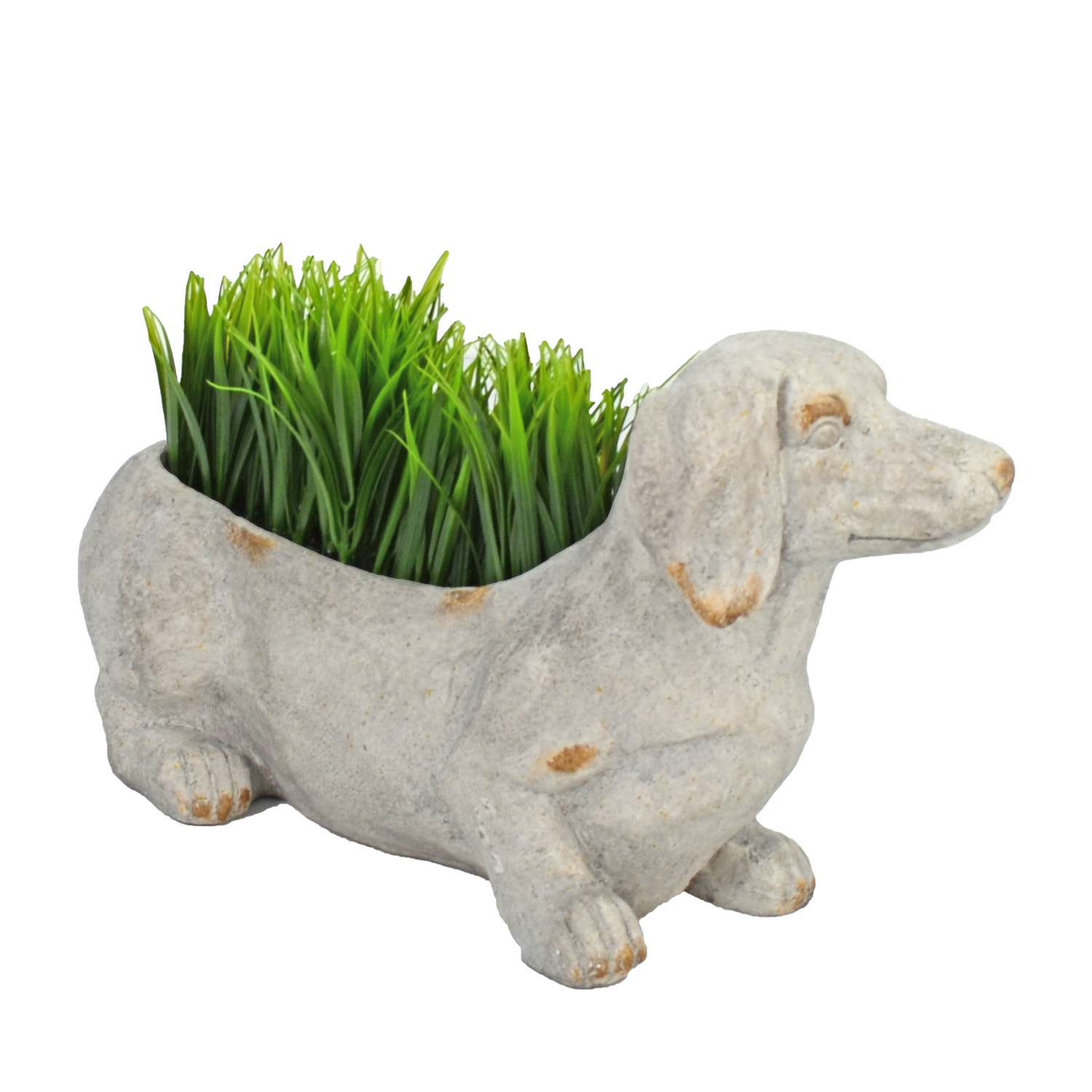 SAUSAGE DOG PLANTER 30CM WEATHERED STONE EFFECT PROFILE WS15