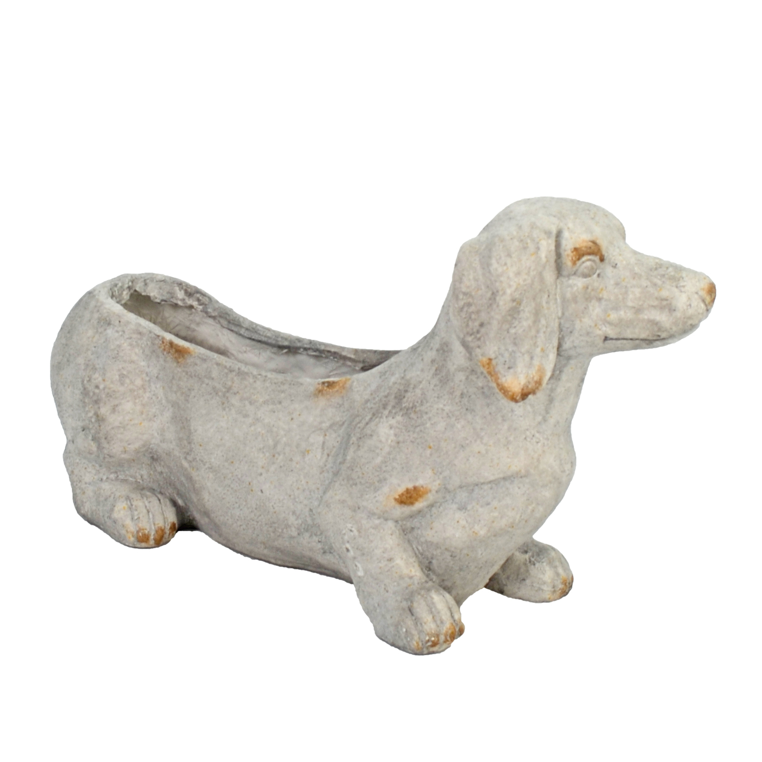 SAUSAGE DOG PLANTER 30CM WEATHERED STONE EFFECT PROFILE WS3