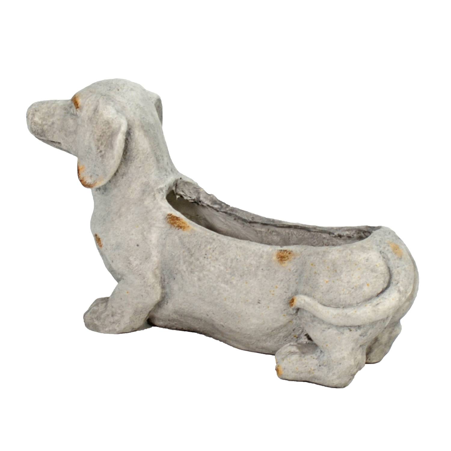 SAUSAGE DOG PLANTER 30CM WEATHERED STONE EFFECT PROFILE WS4