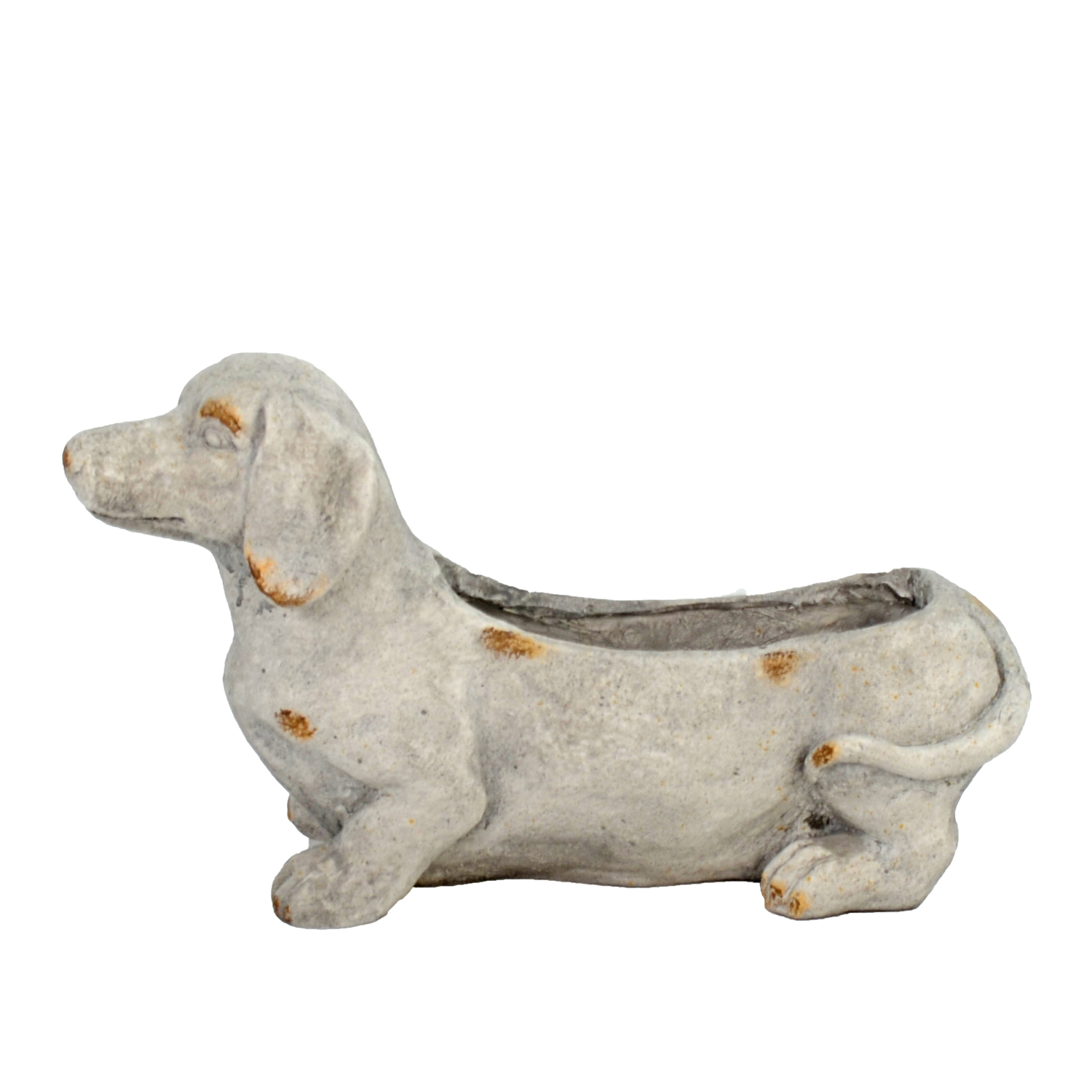 SAUSAGE DOG PLANTER 30CM WEATHERED STONE EFFECT PROFILE WS5