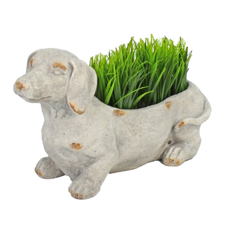 SAUSAGE DOG PLANTER 30CM WEATHERED STONE EFFECT PROFILE WS8