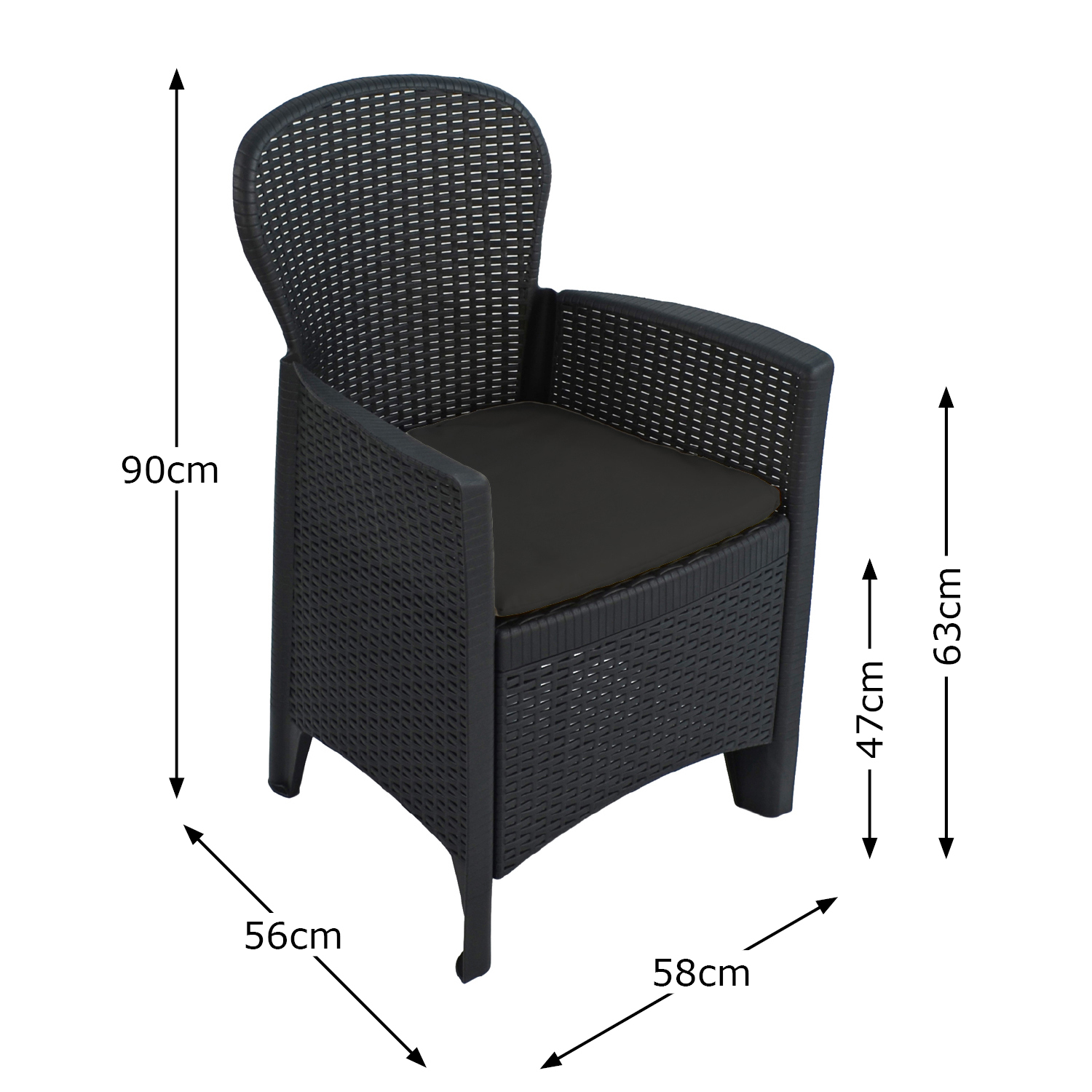 SICILY CHAIR ANTHRACITE DIMENSION MS1