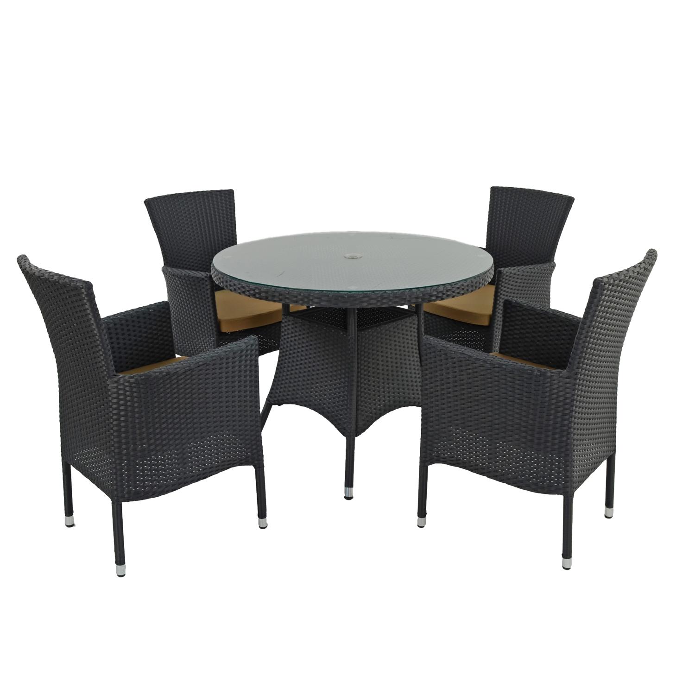 STOCKHOLM 4 SEAT SET BLACK SET WS2