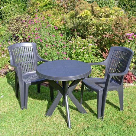 TIVOLI TABLE WITH 2 PARMA CHAIRS SET ANTHRACITE LG1