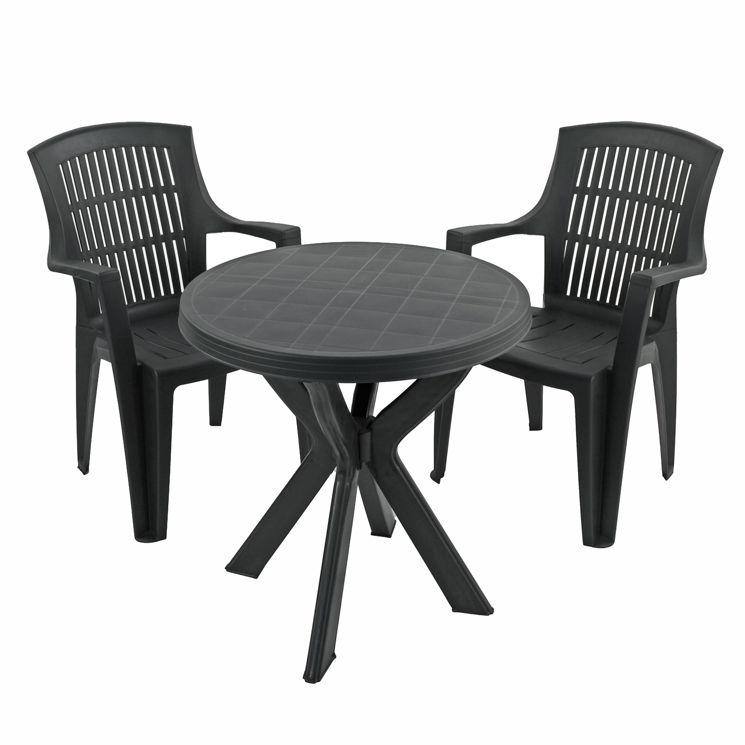 TIVOLI TABLE WITH 2 PARMA CHAIRS SET ANTHRACITE WG1