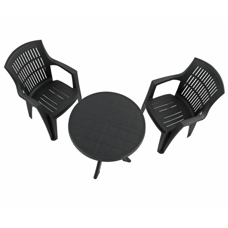 TIVOLI TABLE WITH 2 PARMA CHAIRS SET ANTHRACITE WG2