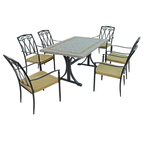 BURLINGTON DINING TABLE WITH 6 ASCOT CHAIRS SET WG1