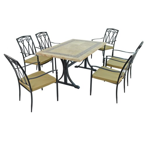 CHARLESTON DINING TABLE WITH 6 ASCOT CHAIRS SET WG1
