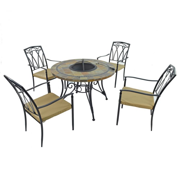 COLORADO FIRE PIT TABLE WITH 4 ASCOT CHAIRS SET WG1