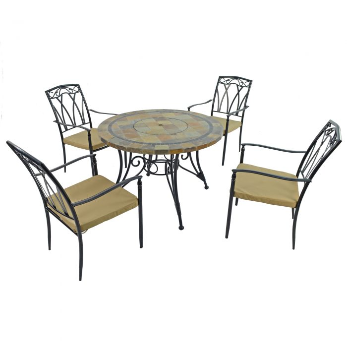 COLORADO FIRE PIT TABLE WITH 4 ASCOT CHAIRS SET WG2