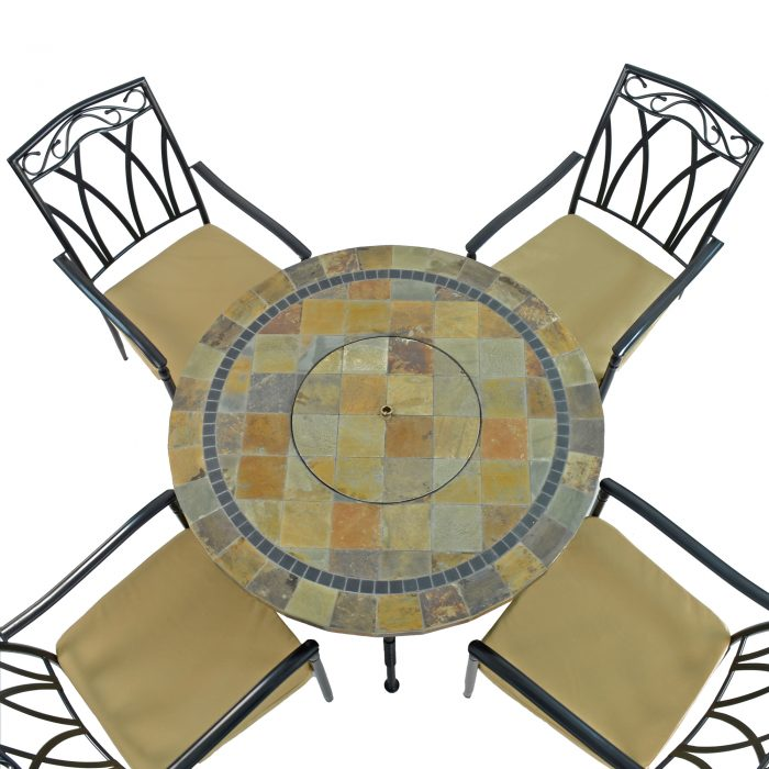 COLORADO FIRE PIT TABLE WITH 4 ASCOT CHAIRS SET WG4
