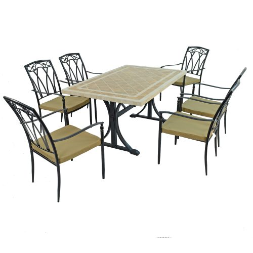 HAMPTON DINING TABLE WITH 6 ASCOT CHAIRS SET WG1