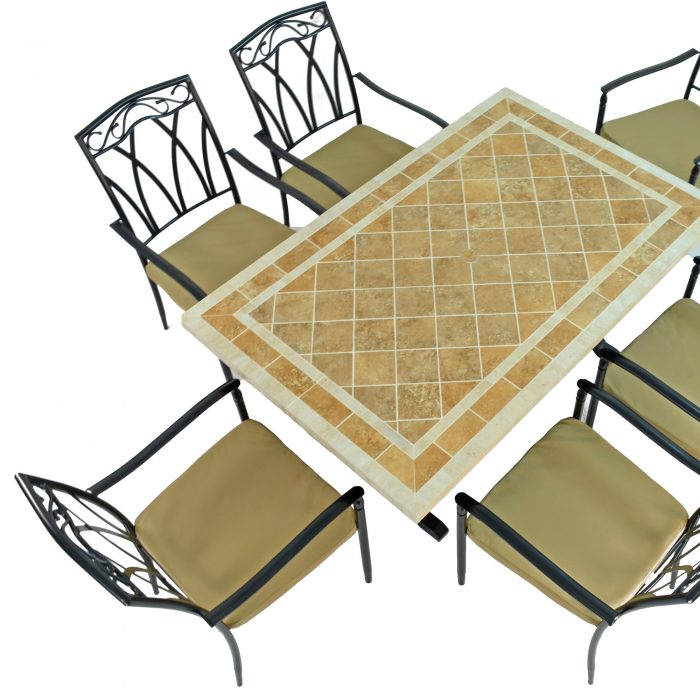 HAMPTON DINING TABLE WITH 6 ASCOT CHAIRS SET WG2