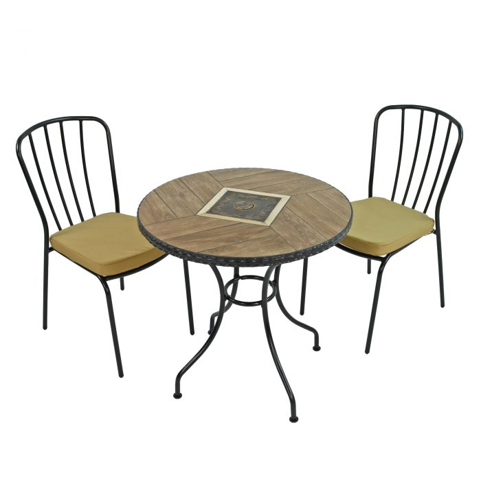 HASLEMERE 71CM BISTRO WITH 2 MILAN CHAIRS SET WG1