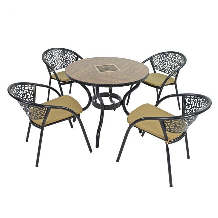 HASLEMERE 91CM PATIO WITH 4 FLORENCE CHAIRS SET WG1