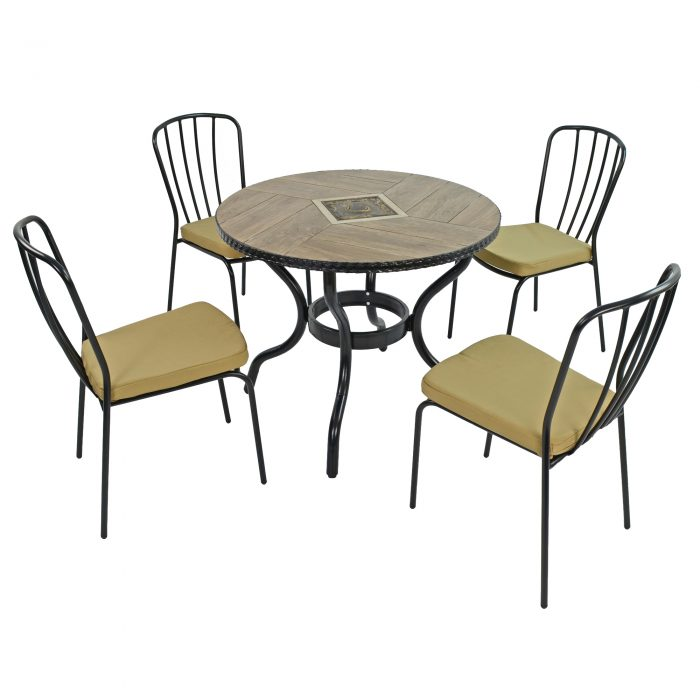 HASLEMERE 91CM PATIO WITH 4 MILAN CHAIRS SET WG1