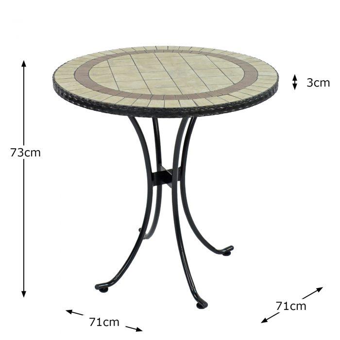 HENLEY 71CM BISTRO TABLE DIMENSION MS10