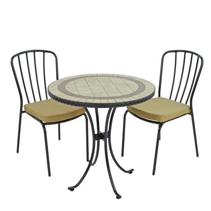 HENLEY 71CM BISTRO WITH 2 MILAN CHAIRS SET WS1