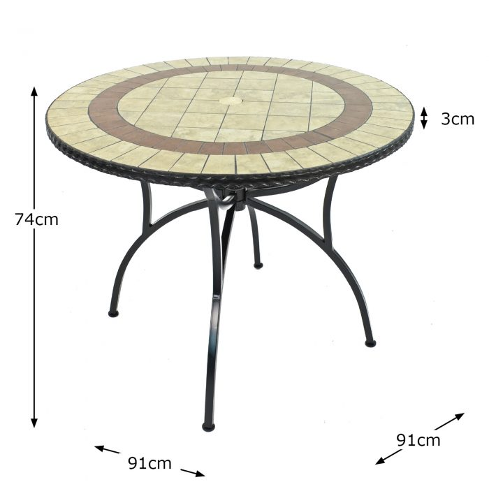 HENLEY 91CM BISTRO TABLE DIMENSION MS10