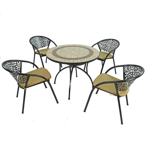 HENLEY 91CM PATIO WITH 4 FLORENCE CHAIRS SET WS1