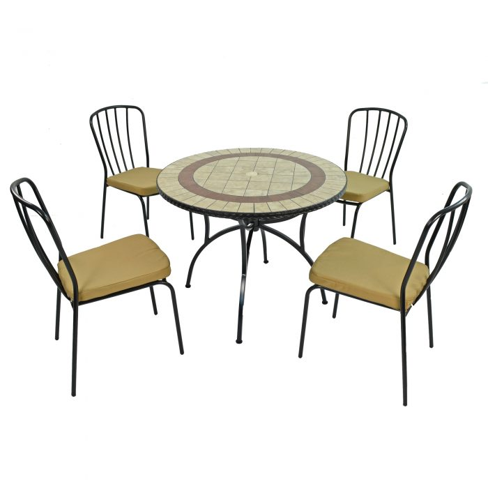 HENLEY 91CM PATIO WITH 4 MILAN CHAIRS SET WS1