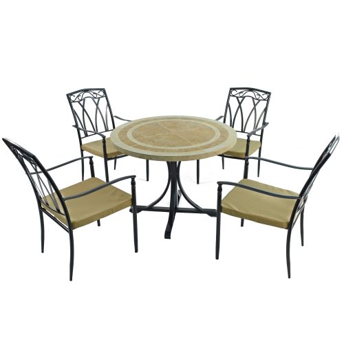LANGLEY DINING TABLE WITH 4 ASCOT CHAIRS SET WG1