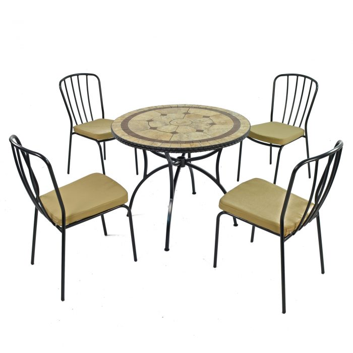 RICHMOND 91CM PATIO WITH 4 MILAN CHAIRS SET WS1