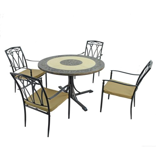 ST MALO DINING TABLE WITH 4 ASCOT CHAIRS SET WG1