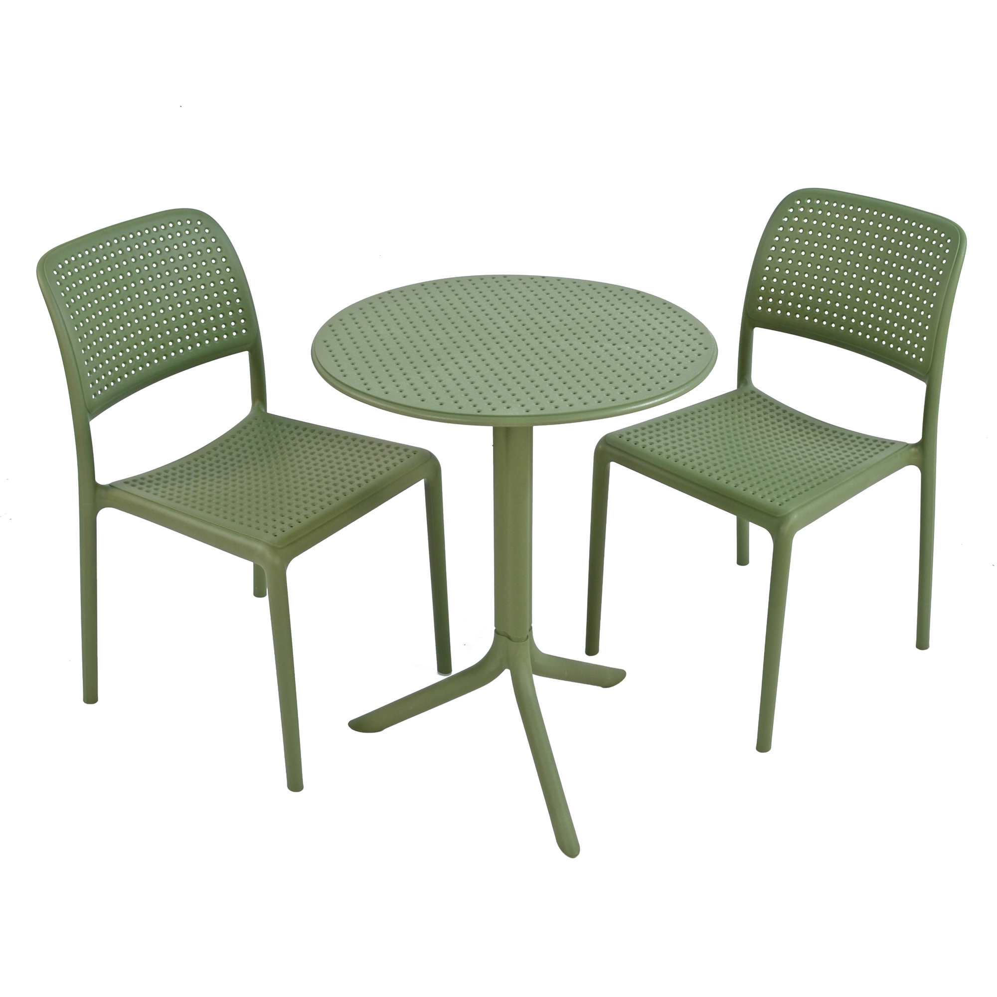 STEP TABLE WITH 2 BISTROT CHAIR SET OLIVE WS1