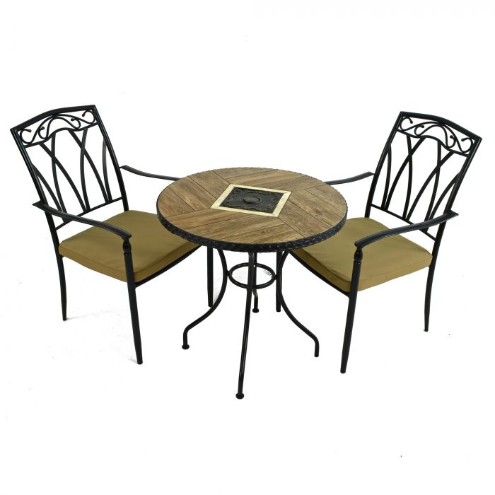 HASLEMERE 71cm Bistro with 2 ASCOT Chairs Set WG1