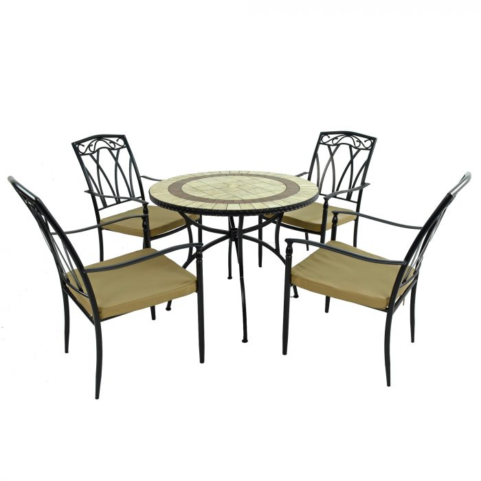 HENLEY 91cm Patio with 4 ASCOT Chairs Set WG4