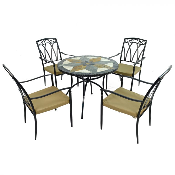 MONTILLA 91cm Patio with 4 ASCOT Chairs Set WG1