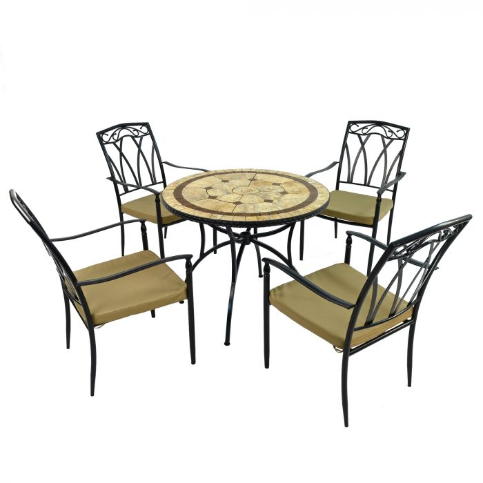 RICHMOND 91cm Patio with 4 ASCOT Chairs Set WG1
