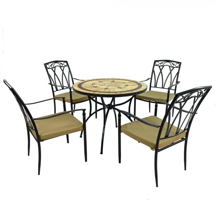 RICHMOND 91cm Patio with 4 ASCOT Chairs Set WG4