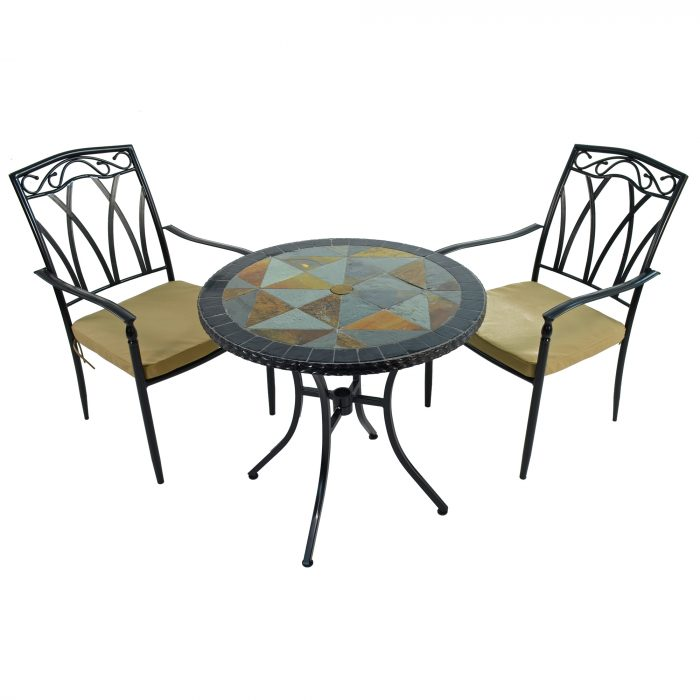 TOBARRA 76cm Bistro Table with 2 ASCOT Chair Set WG1