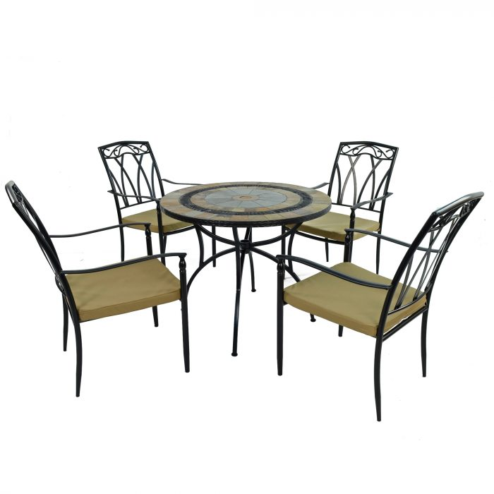 VILLENA 91cm Patio with 4 ASCOT Chairs Set WG1